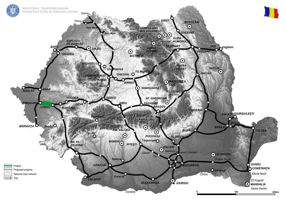 harta Constructia autostrazii Timisoara Lugoj si a variantei de ocolire Timisoara la standard de autostrada