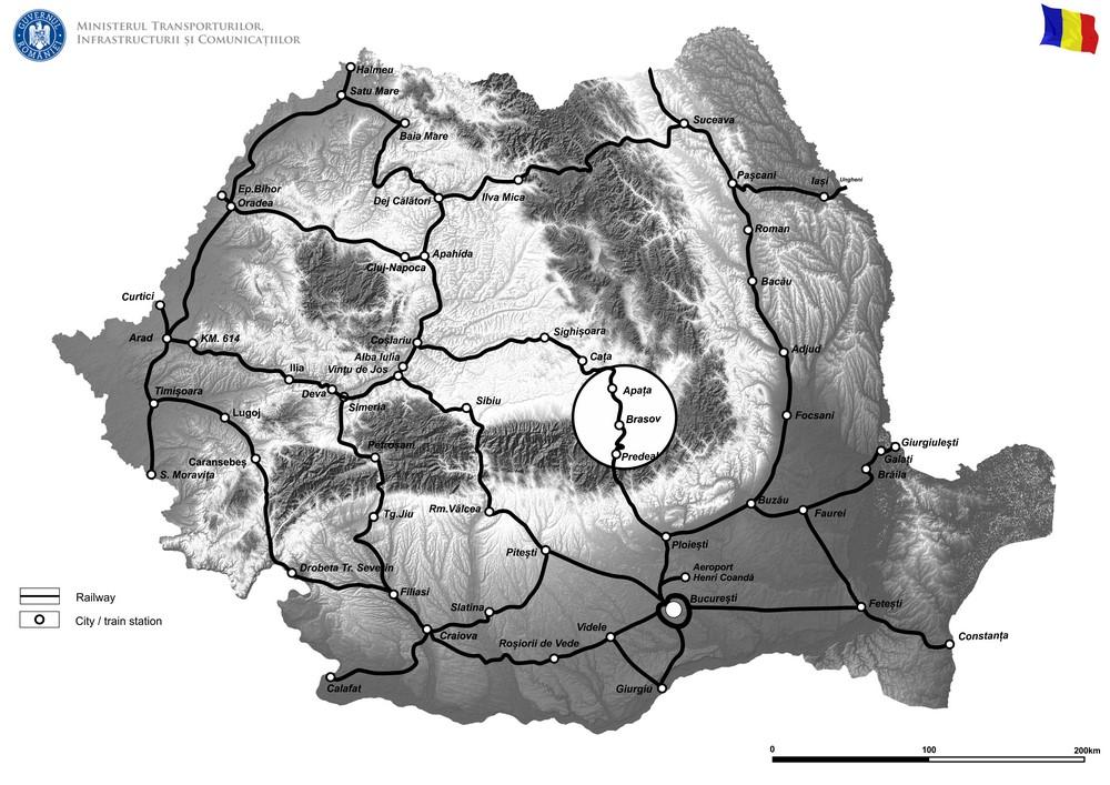 harta Lucrări de reabilitare pentru poduri, podețe și tuneluri de cale ferată -  Sucursala Regională de Căi Ferate Brașov (FAZA II)