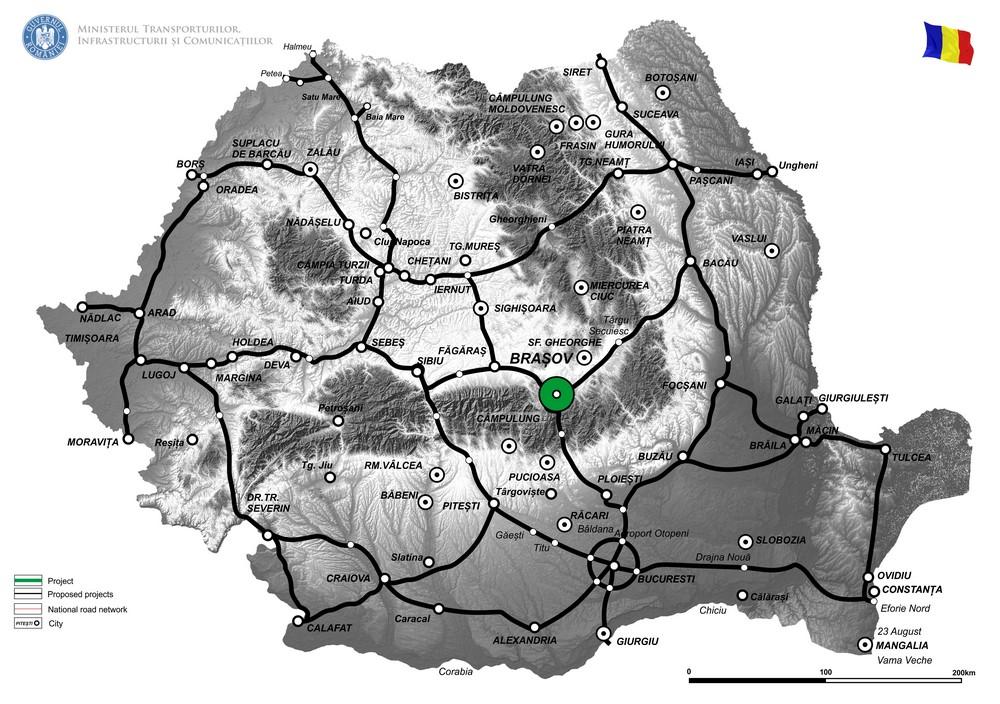 harta Constructia variantei de ocolire a Municipiului Brasov, Tronson I (DN1-DN11), II (DN11-DN13) and III (DN 13-DN 1) Faza II