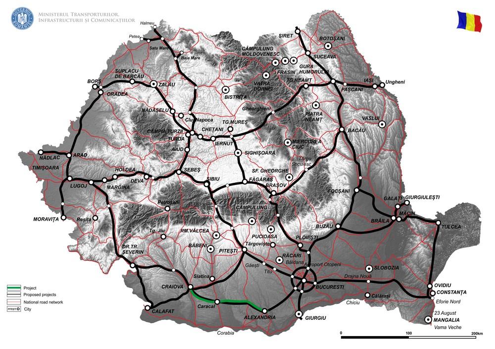 harta Reabilitare DN 6, Alexandria - Craiova (faza II)