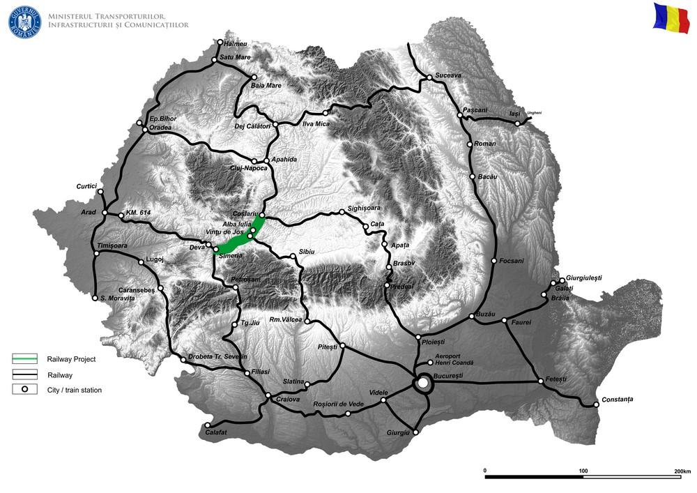 harta Reabilitarea liniei de cale ferată Braşov – Simeria, componentă a coridorului Pan – European IV, pentru a asigura circulaţia trenurilor cu o viteză de 160 km/h, tronsonul Simeria – Coşlariu – FAZA II