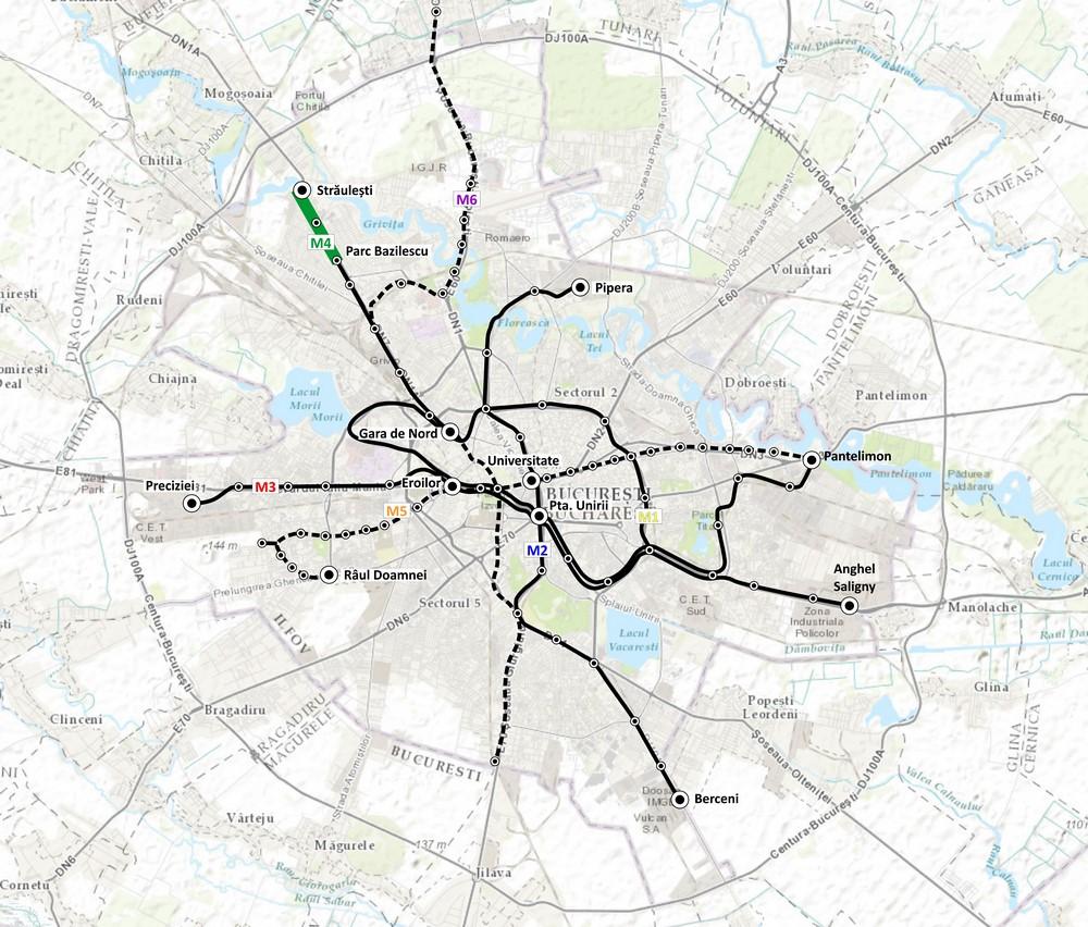 harta Magistrala M4. Racordul 2. Secțiunea Parc Bazilescu (PS Zarea) – Străulesti
