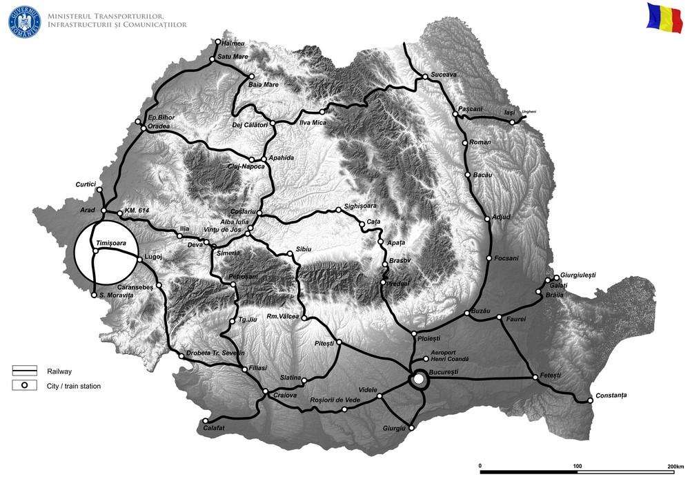harta Lucrări de reabilitare pentru poduri, podețe și tuneluri de cale ferată - Sucursala Regională de Căi Ferate Timișoara - Faza II