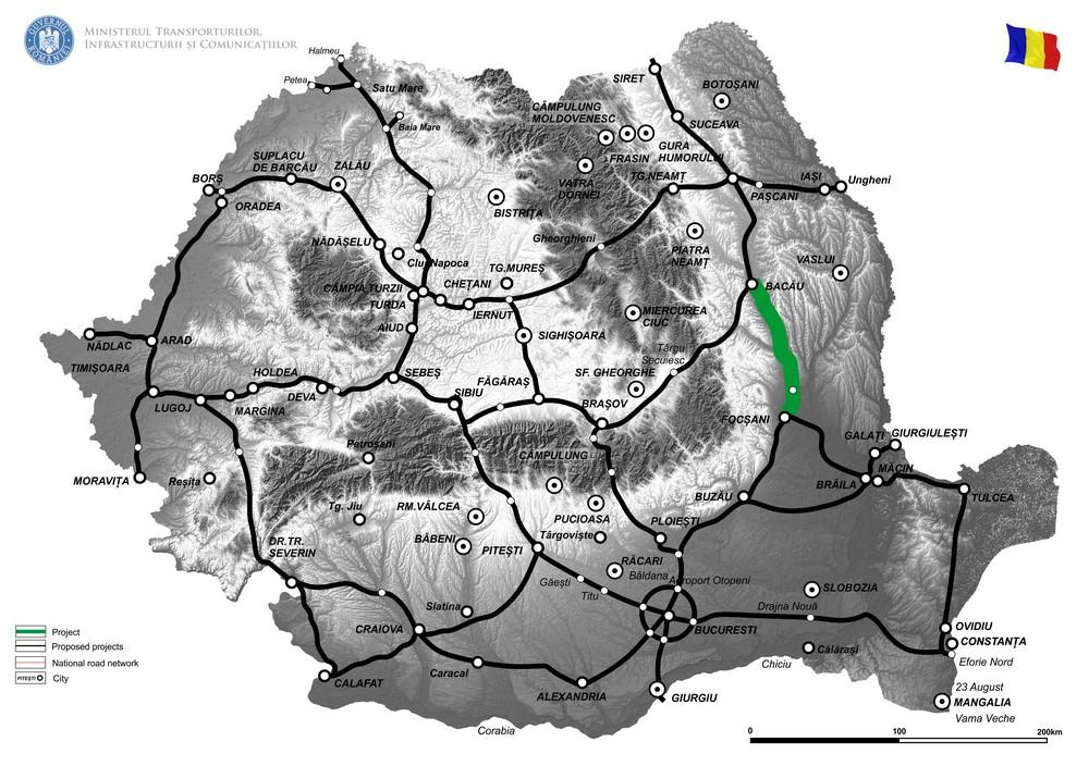 """harta Elaborare Studiu de Fezabilitate si Proiect Tehnic pentru """"Drum de mare viteza Focsani - Bacau"""""""