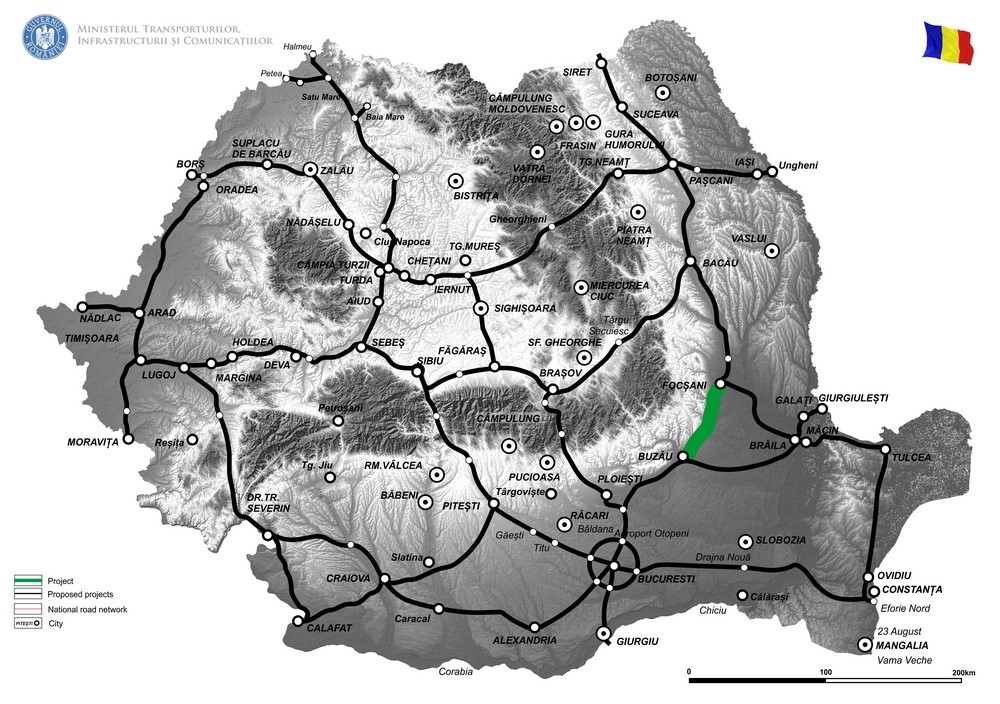 harta Elaborare Studiu de fezabilitate și Proiect Tehnic pentru drum de mare viteză Buzău-Focșani