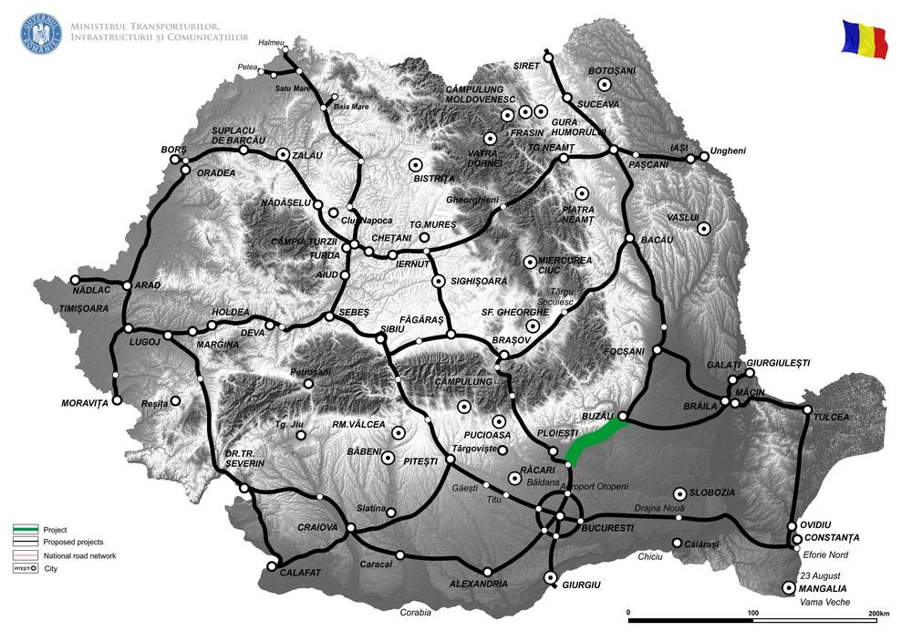 harta Elaborare Studiu de fezabilitate și Proiect Tehnic pentru drum de mare viteză Ploiești-Buzău