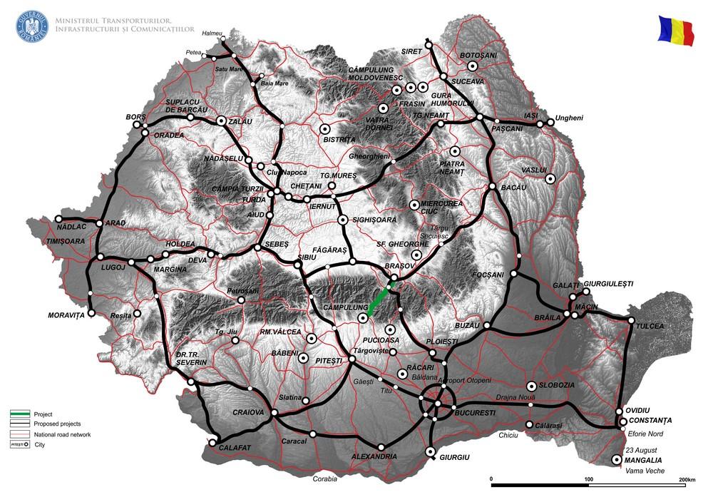 harta DN 73 Pitesti - Campulung - Brasov km 13+800-42+850; km 54+050-128+250