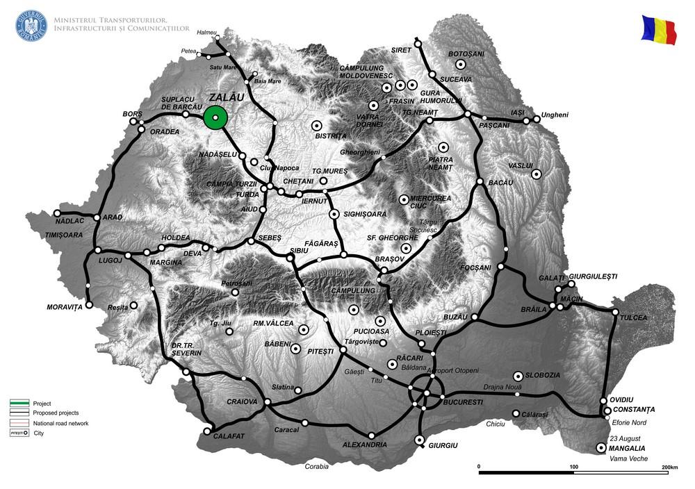 harta Reactualizare a Studiului de Fezabilitate, intocmire Proiect Tehnic si Detalii de executie pentru Varianta de ocolire a Municipiului Zalau - Etapa 2, intre DN 1F km 76+625 - DJ 191C