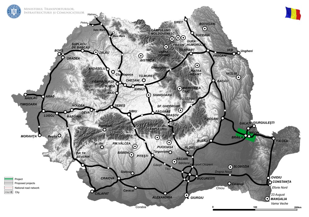 harta Pod suspendat peste Dunare in zona Braila