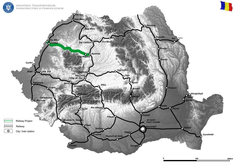 harta Actualizarea documentației tehnico - economice pentru proiectul de Electrificare a liniei de cale ferată Cluj-Napoca - Episcopia Bihor (TENT Comprehensive)