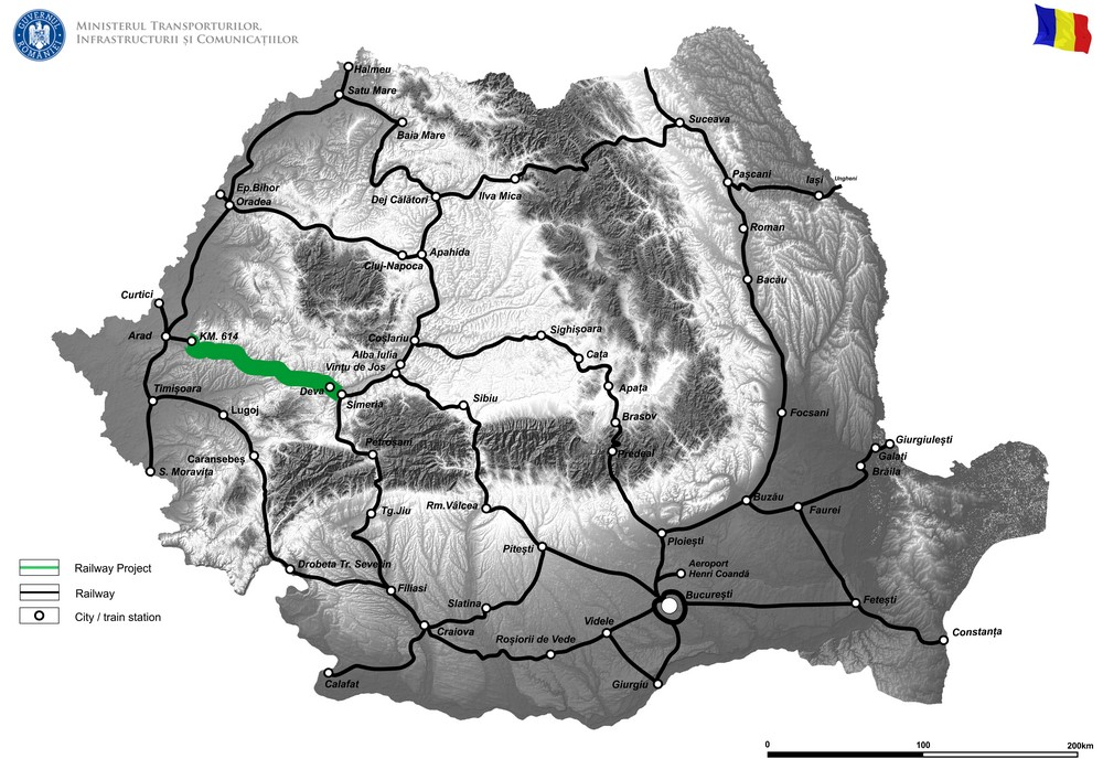harta Reabilitarea liniei de cale ferată Frontiera Curtici-Simeria parte componentă a Coridorului IV Pan European pentru circulația trenurilor cu viteza max. de 160 km/h, tronsonul 2 km. 614-Gurasada și tronsonul 3 Gurasada-Simeria