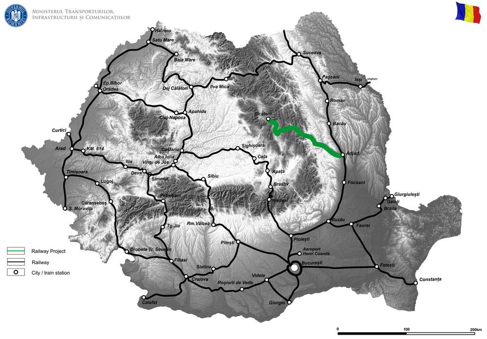 harta Modernizarea instalaţiilor de centralizare electromecanică pe secţia de circulaţie Siculeni – Adjud