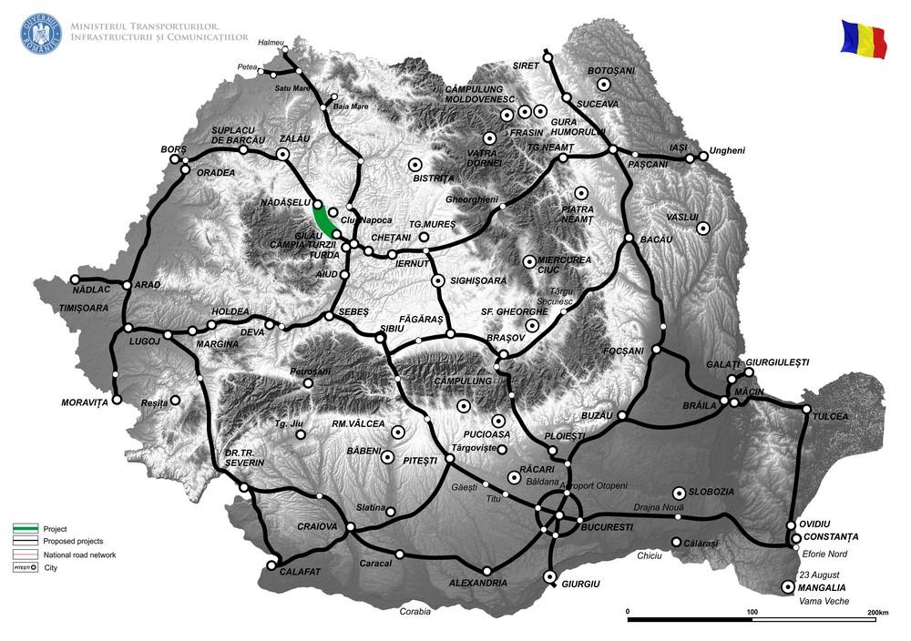"""harta Austostrada Cluj Vest (Gilău) - Nădășelu și finalizarea lucrărilor la nodul Gilău și conexiunea dintre secțiunea 2B cu subsecțiunea 3A1"""""""