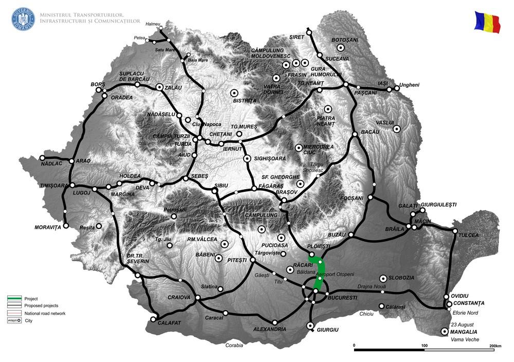 harta Autostrada București-Brașov, secțiunea București-Ploiești, sector 1, km 0+000 - km 3 +325; Nod Centura București km 6+500 și Nod Moara Vlasiei km 19+500