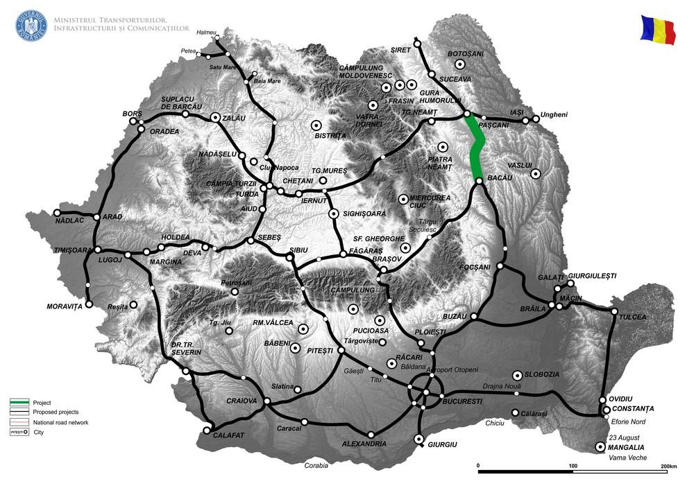 """harta Elaborare Studiu de Fezabilitate și Proiect Tehnic pentru """"Drum de mare viteză Bacău-Pașcani"""""""