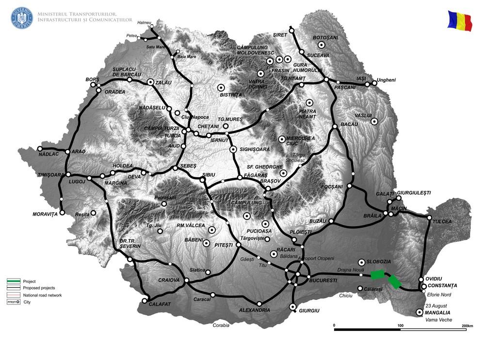 harta Completarea Studiului de Fezabilitate pentru Reabilitarea Podului peste bratul Borcea, situat pe Autostrada A2, la km 149+680 si Reabilitarea Podului de la Cernavoda situat pe Autostrada A2, la km 157+600 si Elaborarea Documentatiei Suport pentru Cererea de Finantare