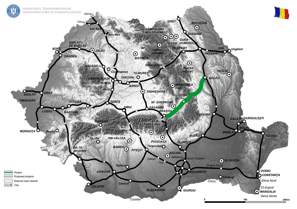 harta Elaborare documentatie pentru obiectivul Autostrada Brasov - Bacau