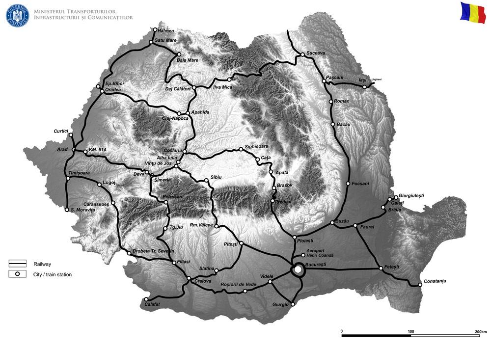 harta Studiu de sustenabilitate si eficientizare a retelei feroviare din Romania