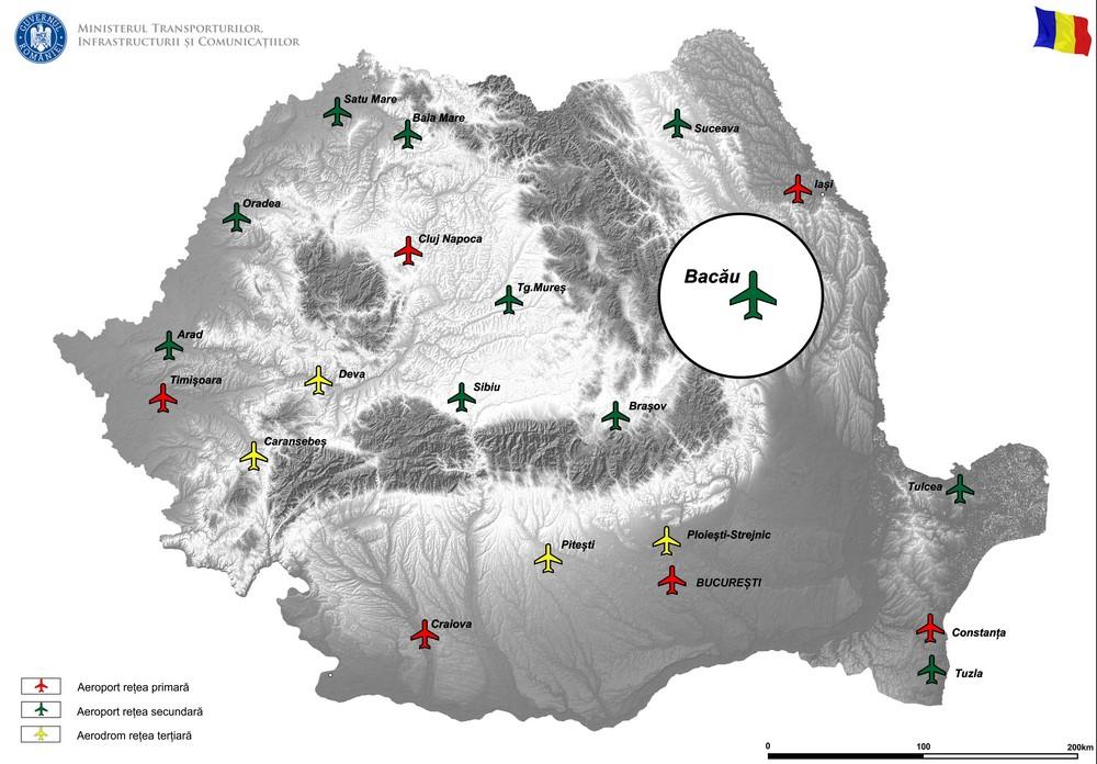 harta Cresterea capacitatii portante si modernizarea pistei de decolare - aterizare si a suprafetelor de miscareaferente la Aeroportul international George Enescu Bacau