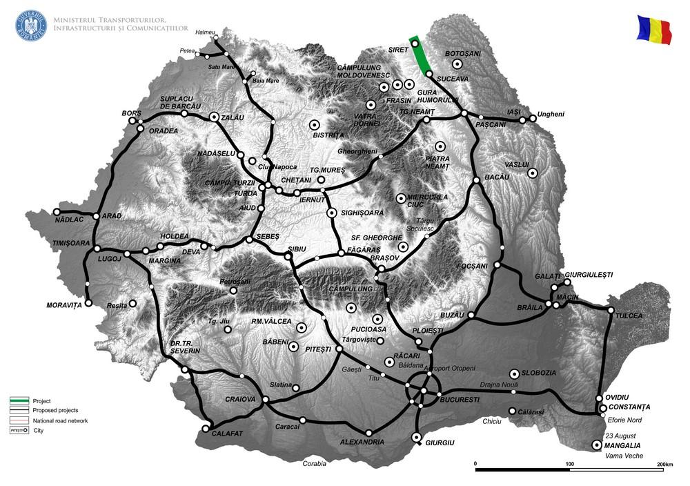 harta Elaborare Studiu de fezabilitate si Proiect Tehnic de Executie pentru obiectivul Drum Expres Suceava - Siret