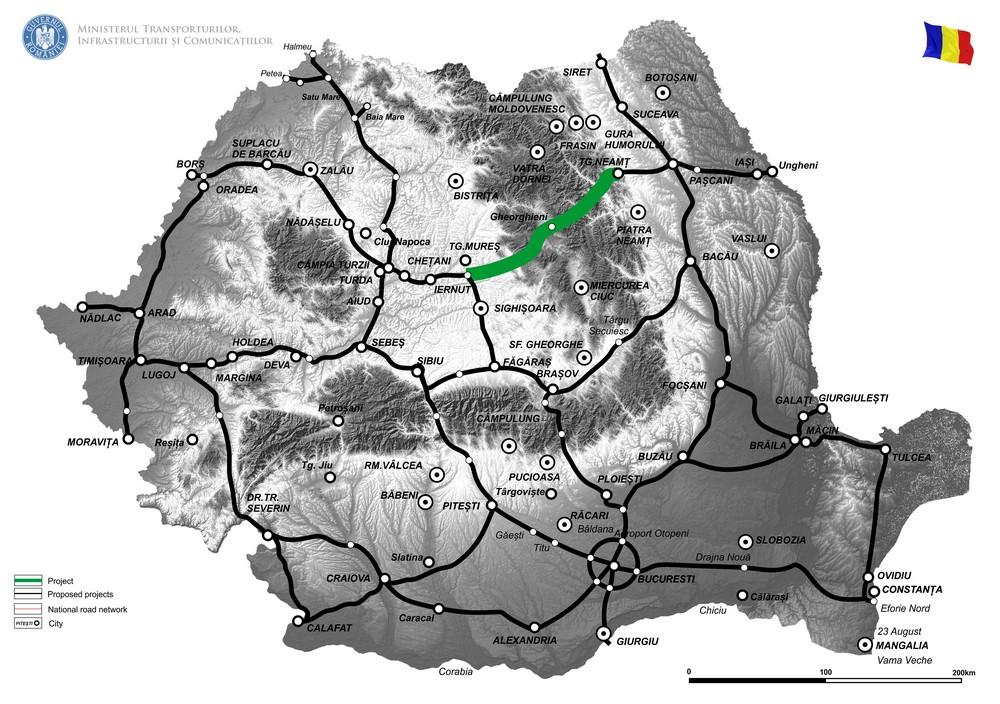 harta Sprijin pentru pregatirea documentatiei tehnice aferente proiectului de infrastructura rutiera Autostrada Tg. Mures -Tg. Neamt