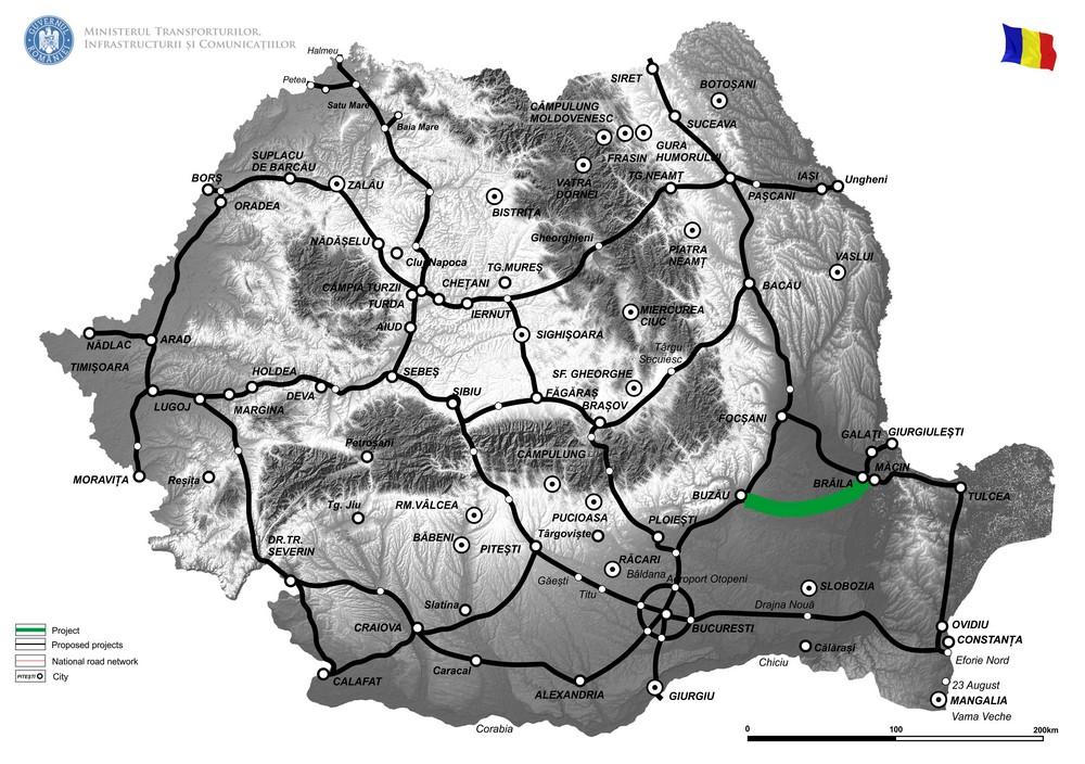 harta ELABORARE STUDIU DE FEZABILITATE SI PROIECT TEHNIC DE EXECUTIE PENTRU DRUM EXPRES BUZĂU – BRĂILA