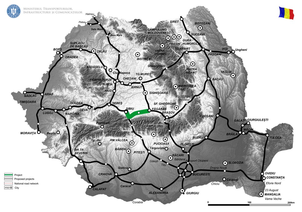 harta Revizuire Studiu de Fezabilitate pentru Autostrada Sibiu - Fagaras