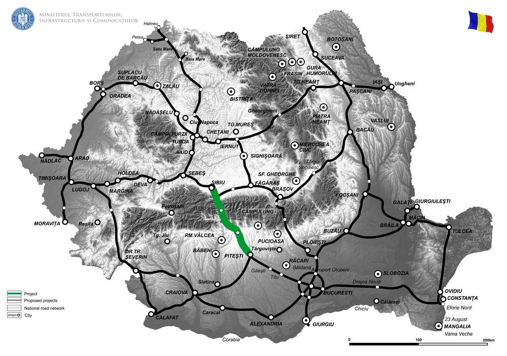 harta Pregatirea proiectului de Autostrada Sibiu - Pitesti si constructia Sectiunilor 1, 4 si 5