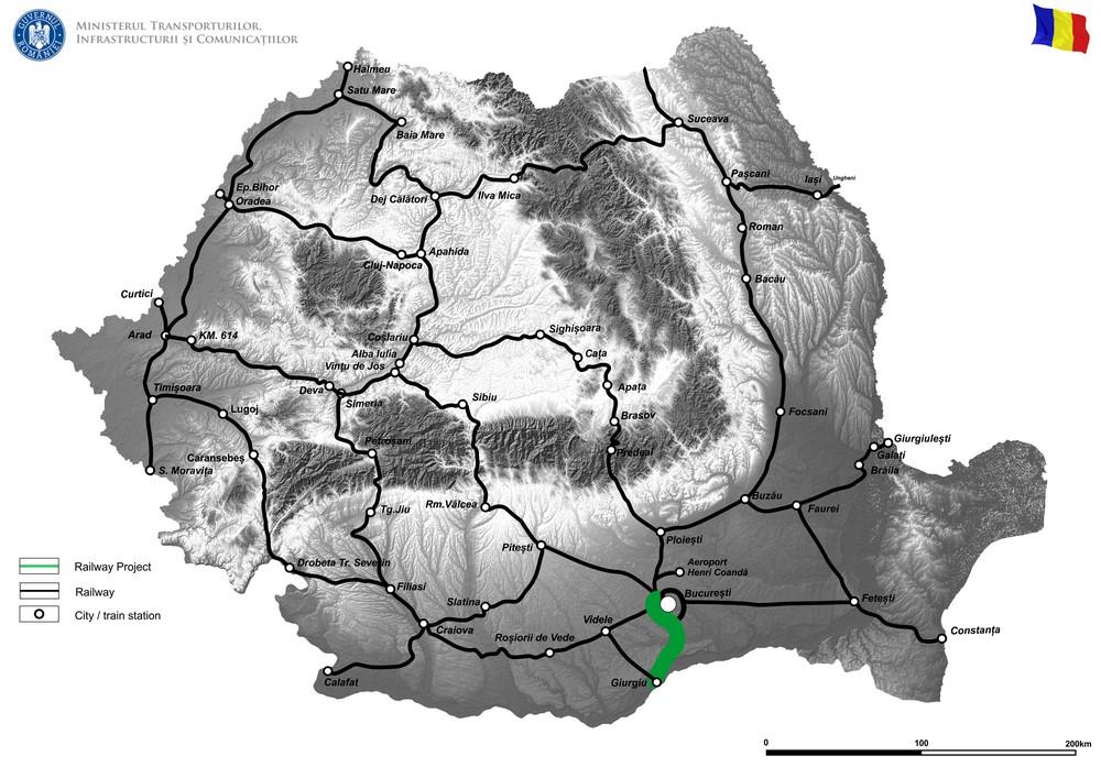 harta Studiu de fezabilitate pentru modernizarea liniei de cale ferată București Nord – Jilava – Giurgiu Nord – Giurgiu Nord Frontieră