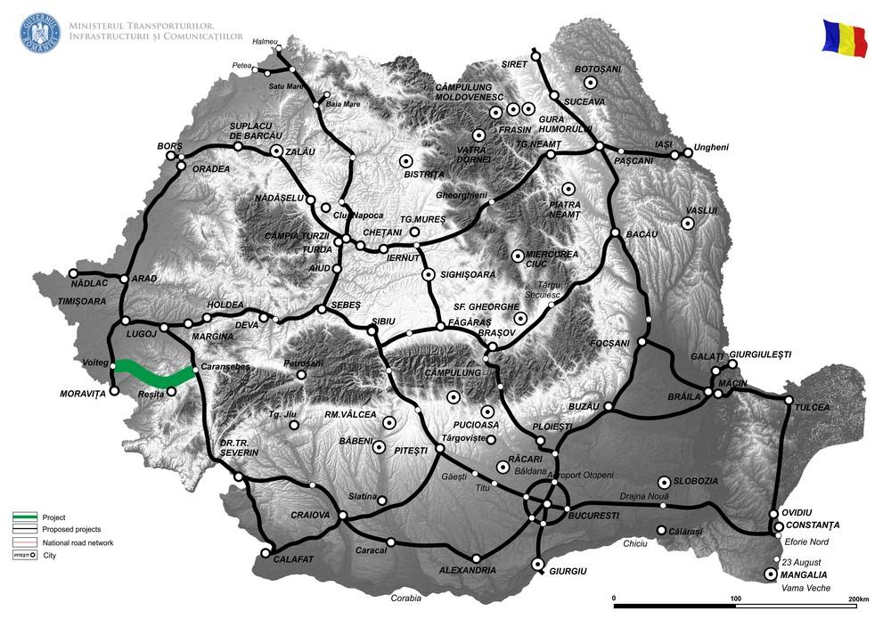 harta Elaborare Studiu de Fezabilitate pentru Drum Expres Caransebes - Resita - Voiteg