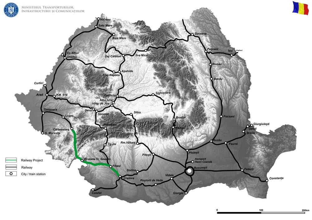 harta The Feasibility study for the rehabilitation of the Craiova-Drobeta Turnu Severin–Caransebes railway line, part of the Orient/East-Mediterranean Corridor