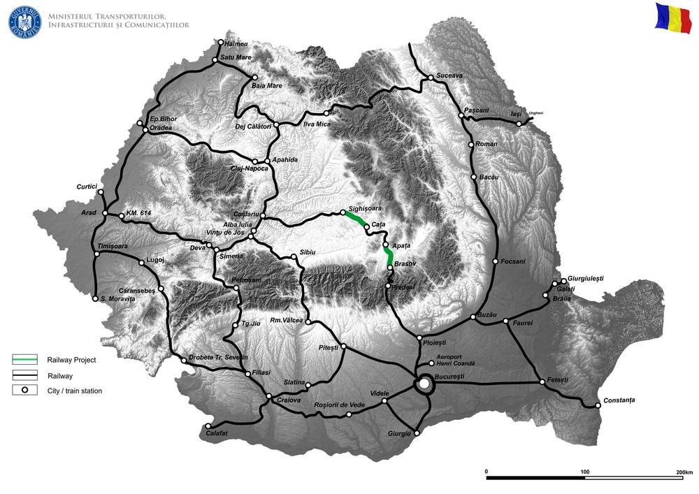 harta The rehabilitation of the Brasov–Simeria Railway component of the Rhin-Danube Corridor, for circulation with maximum speeds of 160km/h; Section: Brasov-Sighisoara. Subsection: 1. Brasov-Apata and 3. Cata-Sighisoara