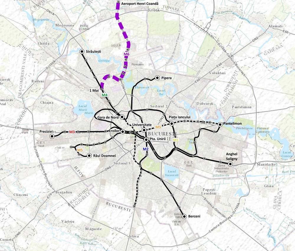 """harta """"Legătura rețelei de metrou cu Aeroportul Henri Coandă – Otopeni (Magistrala 6. 1 Mai – Otopeni)"""""""