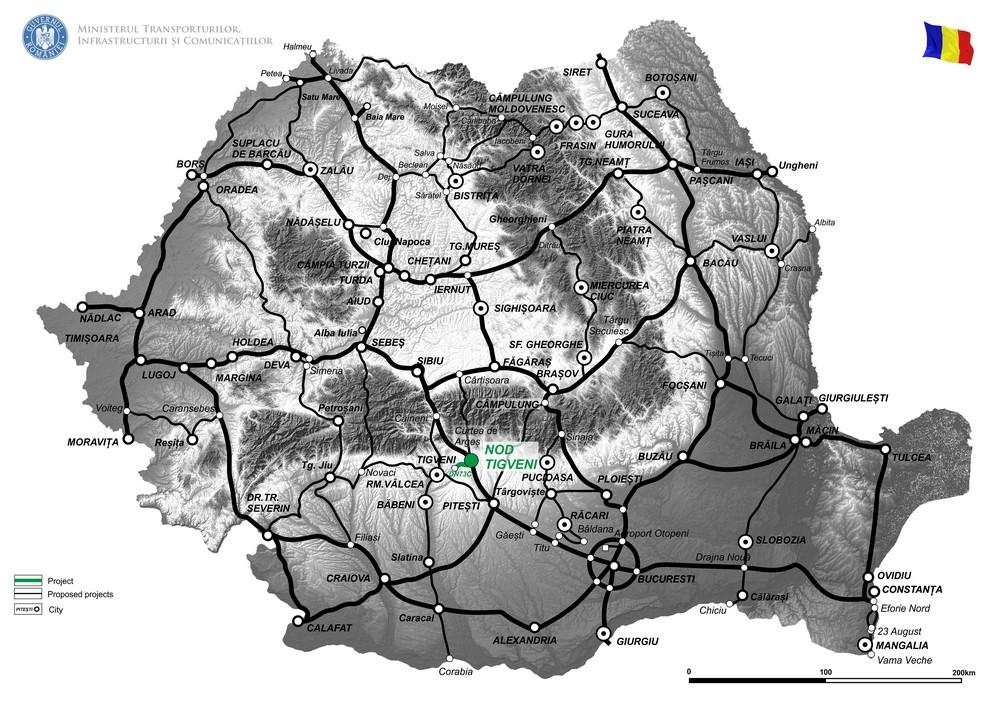 harta Elaborare Studiu de Fezabilitate si Proiect Tehnic de Executie  pentru  Realizare Conexiune DN73C cu Autostrada Sibiu - Pitesti (Nod Tigveni) si Modernizare DN73C (km 44+800 - km 68+000)