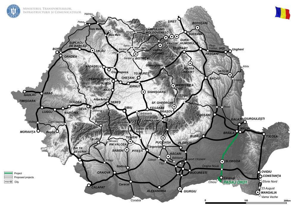 harta Drum TransRegio (TR ISTER) Braila - Slobozia - Calarasi - Chiciu, Etapa I - Pasaj denivelat pe DN21, km 105+500
