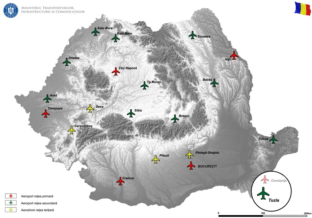 harta MODERNIZAREA SI DEZVOLTAREA INFRASTRUCTURII AEROPORTUARE LA AEROPORT TUZLA