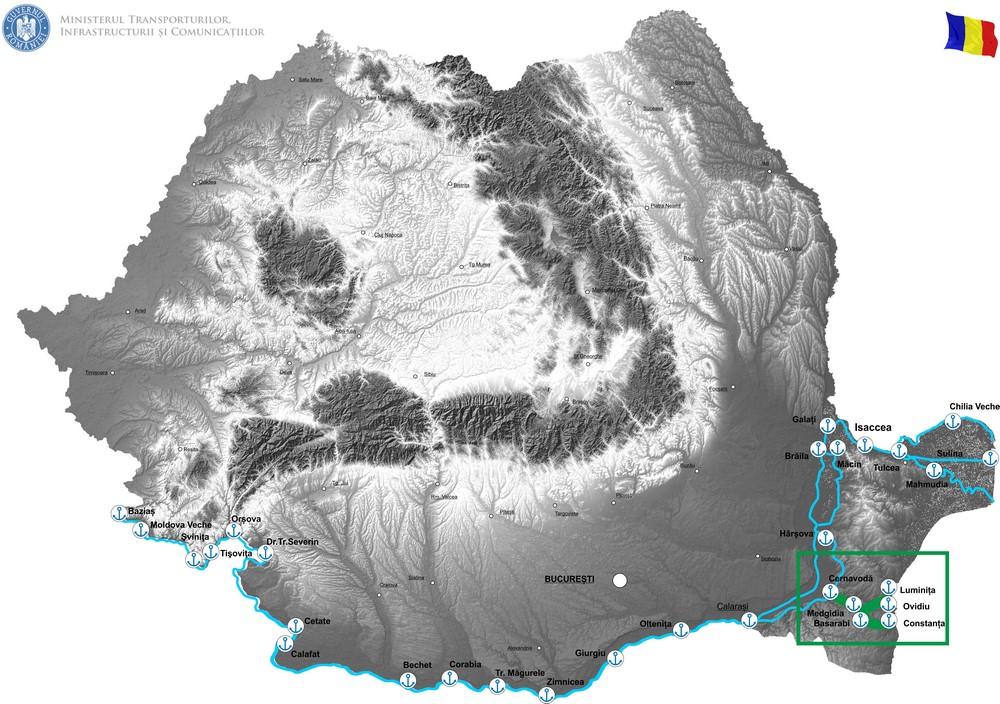 harta STUDIU DE FEZABILITATE pentru obiectivul/proiectul de investiţii: MODERNIZAREA CANALELOR NAVIGABILE ALE DUNĂRII: CANAL DUNĂRE – MAREA NEAGRĂ ŞI CANAL POARTA ALBĂ-MIDIA, NĂVODARI ȊN VEDEREA CREŞTERII SIGURANŢEI NAVIGAŢIEI