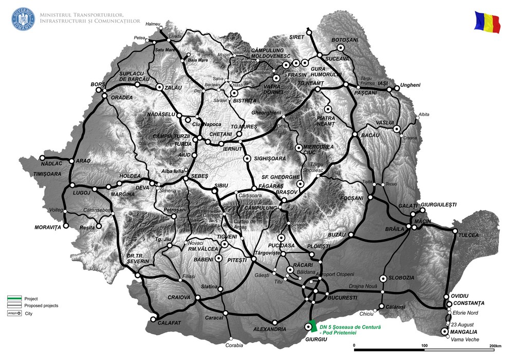 harta Drum de legatura DN5 km 60+500 - Soseaua de centura - Pod Prieteniei km 61+400