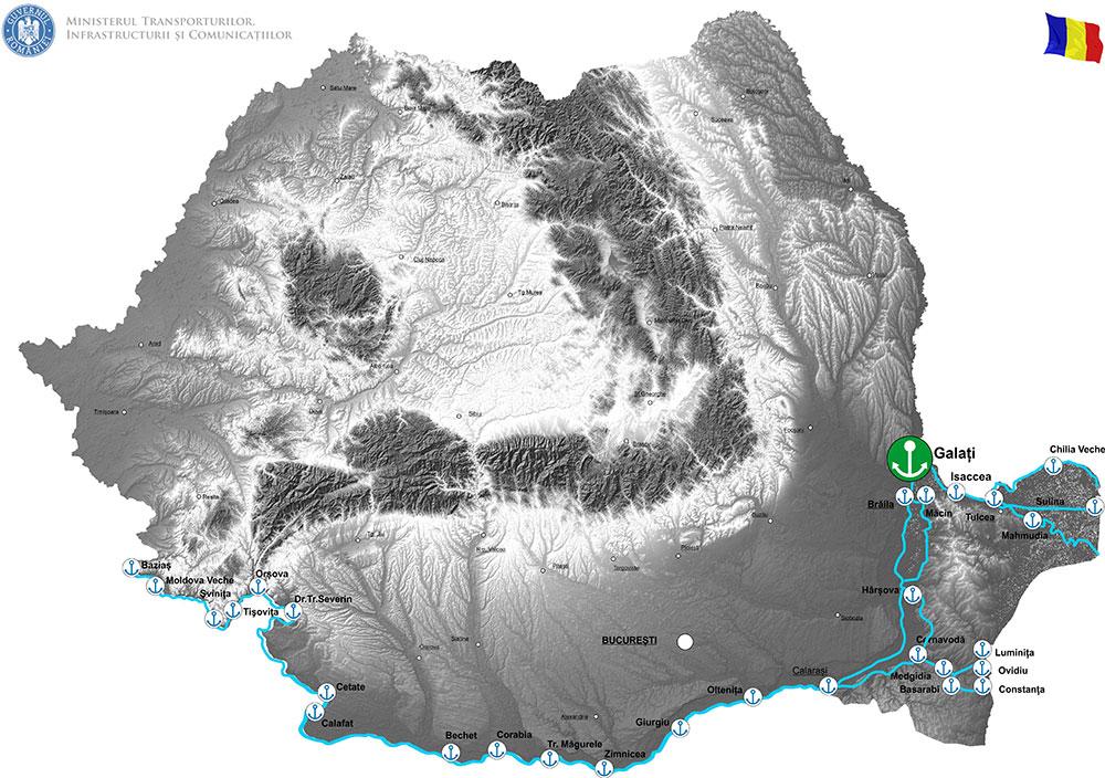 harta Lucrări de infrastructură portuară Cheu Dana 32 Port Docuri Galați