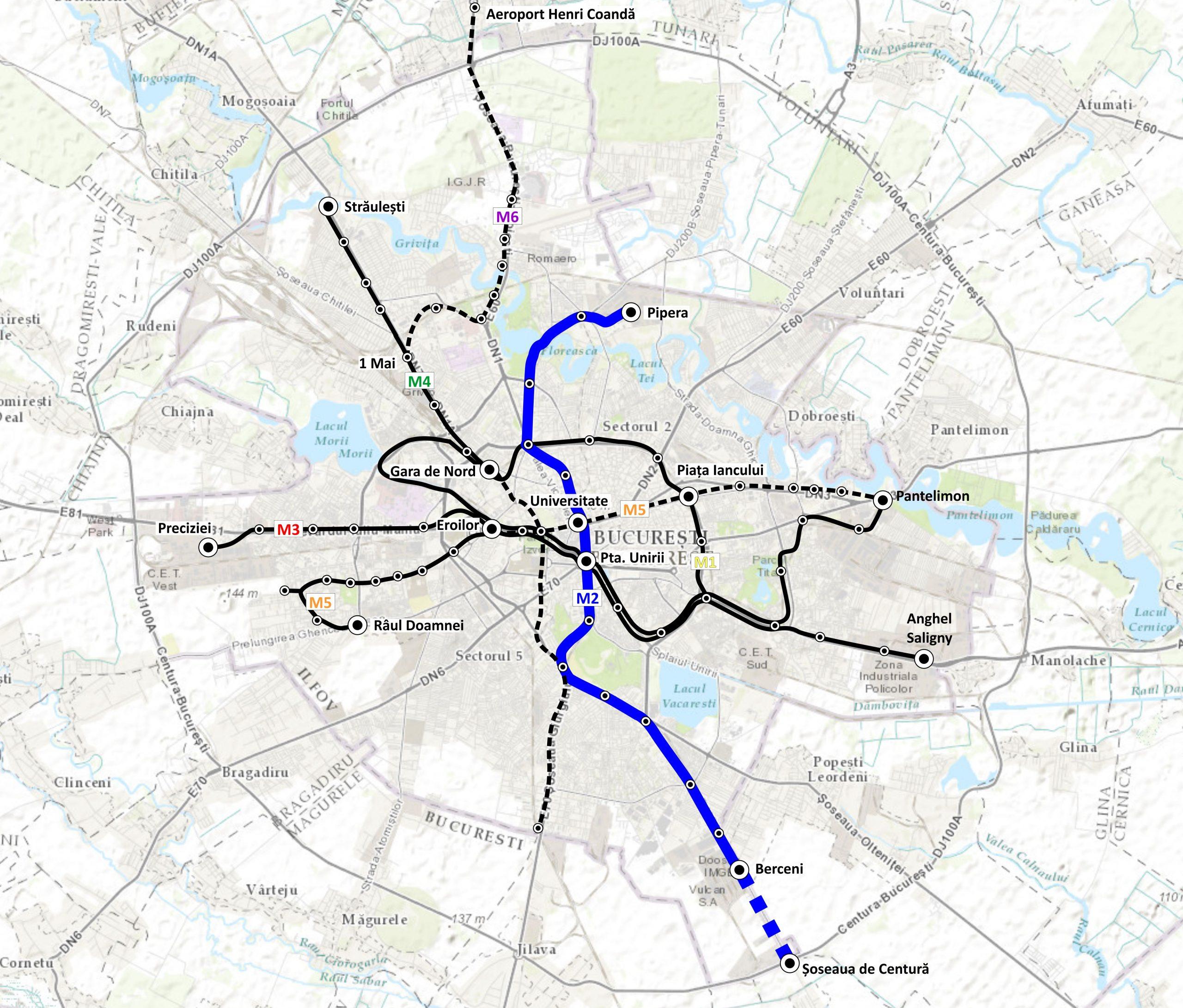 harta Edificarea unei stații de metrou la nivel suprateran situată între stația de metrou Berceni și Șoseaua de Centură