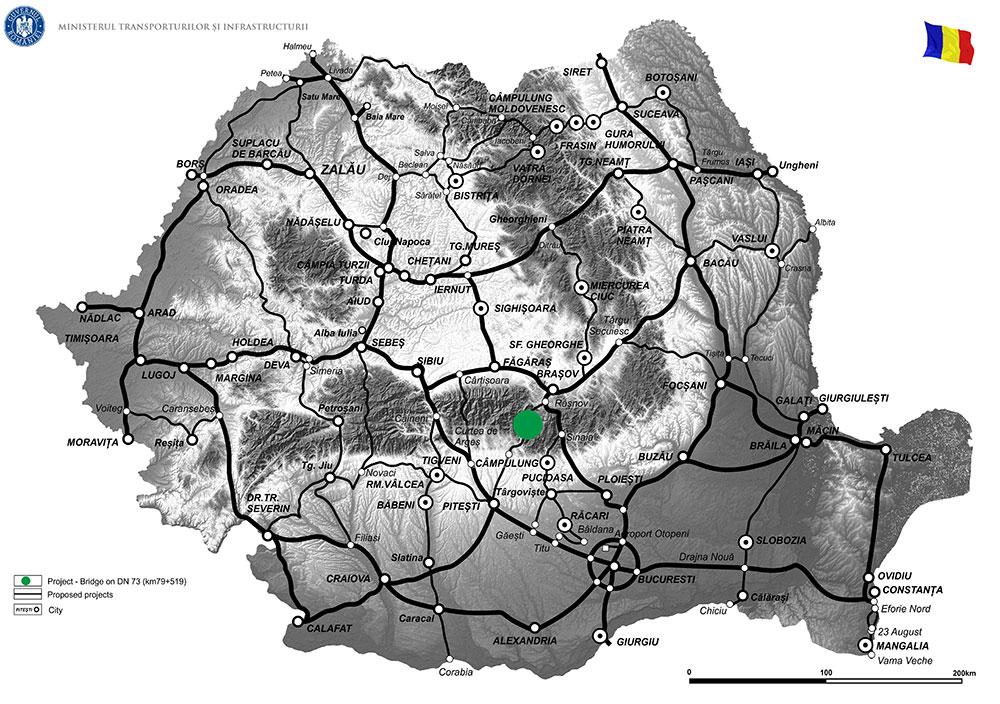 harta Pod peste râul Dâmbovița pe DN 73, km 78+519