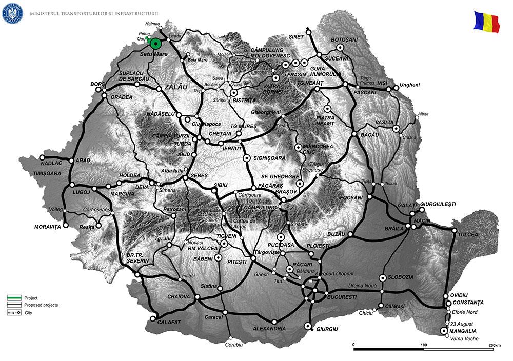 harta Elaborare studiu de fezabilitate și proiect tehnic de execuție pentru Drum Expres  Conexiune Satu Mare (VO Satu Mare) - Oar (Granița Romano - Ungară - Drum expres M49 Ungaria)