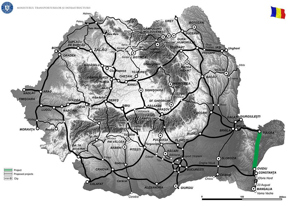 harta Elaborare studiu de fezabilitate și proiect tehnic de execuție pentru Drum Expres Constanța - Tulcea