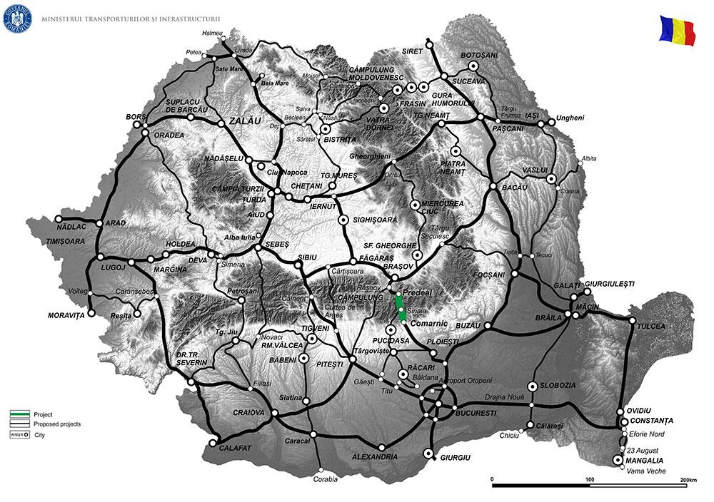harta Măsuri de sporire a capacității de circulație pe DN1 - Valea Prahovei, sectorul de drum Comarnic -Predeal