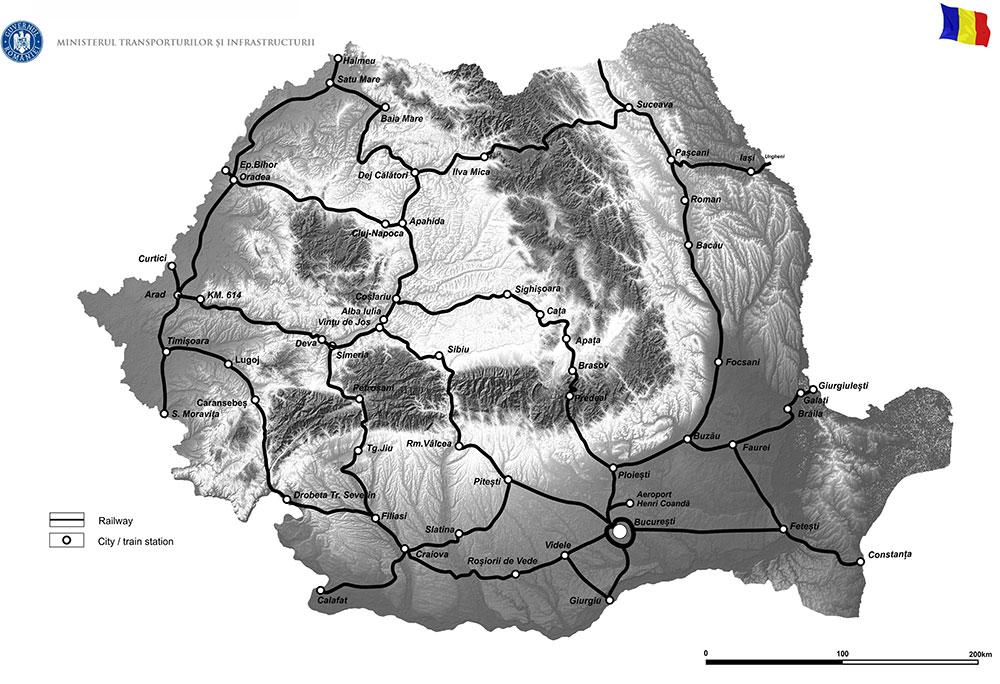 harta Implementarea Modelului Național de Transport, prin actualizarea și detalierea acestuia pentru anul 2019, pentru transportul de călători pe calea ferată, și definirea obilgației de serviciu public de transport feroviar de călători
