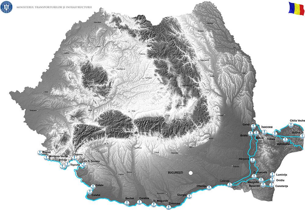 """harta Studiu de Fezabilitate pentru Dezvoltarea și Digitalizarea Sistemului de Semnalizare pe Dunărea Maritimă și Fluvială"""""""
