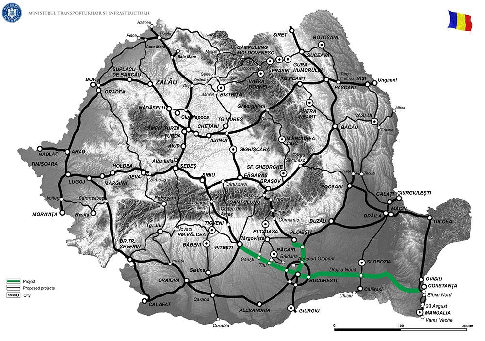 harta Elaborare Studiu de Fezabilitate si Proiect Tehnic de Executie pentru realizarea a 9 noduri rutiere pe Autostrazile A1, A2, A3