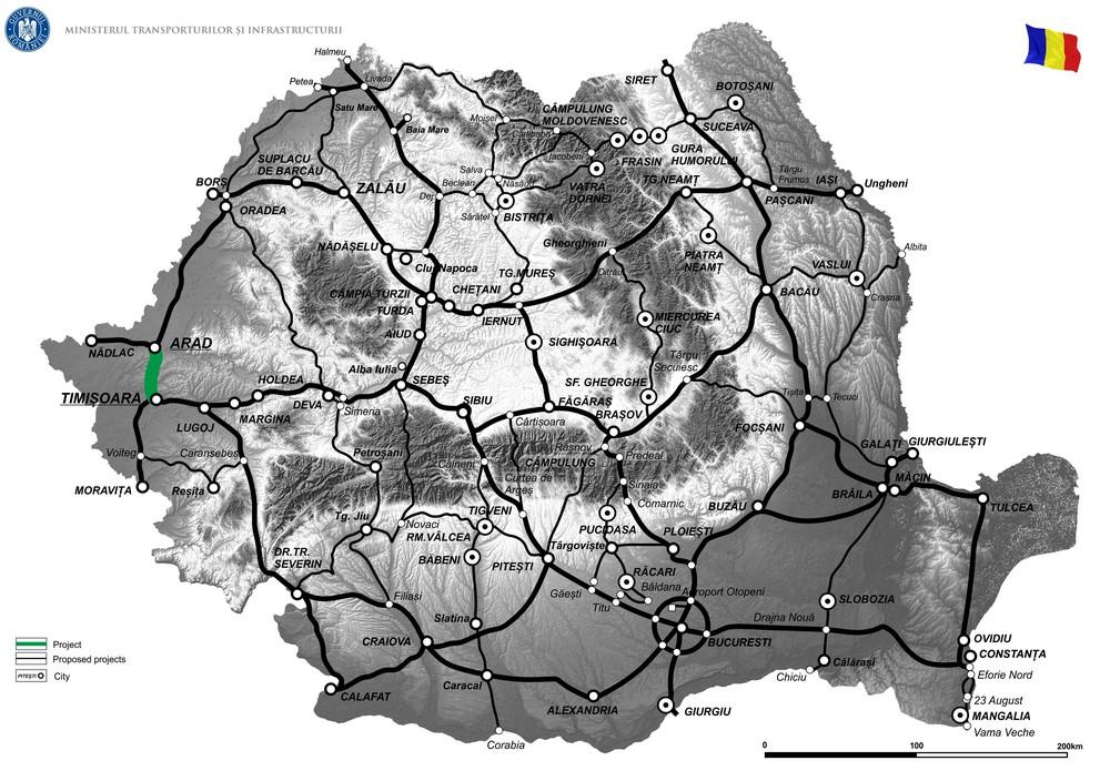 harta Drum de legătură Autostrada A1, Arad - Timișoara - DN69