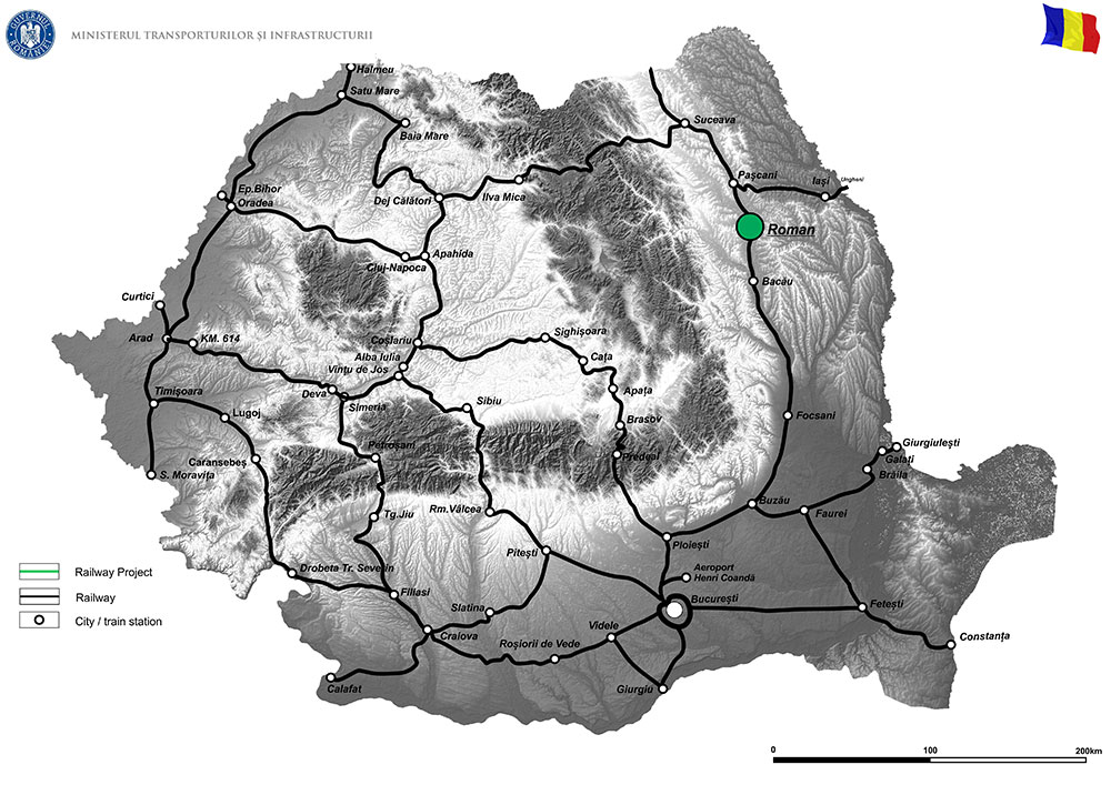 """harta Elaborare Studiu de Fezabilitate, P.A.C. si Proiect Tehnic de Executie pentru """"Pasaj superior pe DN2, peste CF la Roman, Km. 332+961"""""""
